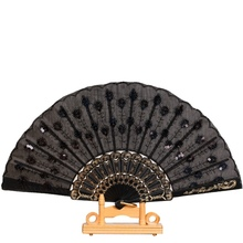 Newest Colored Embroidered Plastic Sequins Flower Pattern Fan Dance Folding Hand Fan 2017