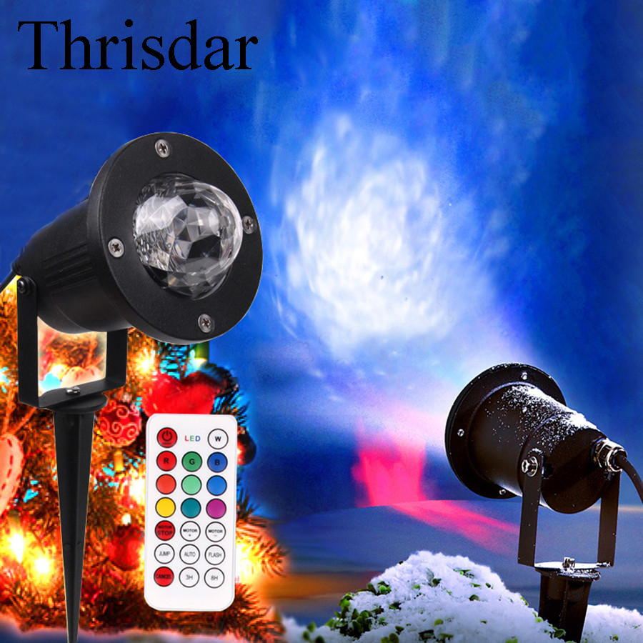 Thrisdar 12W IP65 Outdoor Garden Laser Projector Lamp With Remote Water Wave Ripple Stage Effect Light Landscape Patio Light<br>