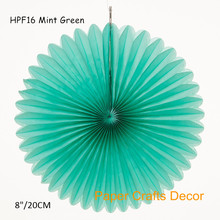 5pcs/lot 8inch=20cm Mint Green Hanging Tissue Paper Honeycomb Pinwheel Fans Wedding Party Flower Background Decoration(China)