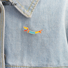 Cute puppy Dachshund brooch Enamel pin coat Button Pins Denim Jacket Pin Badge Fashion Dog Animal Jewelry Gift for Kids(China)