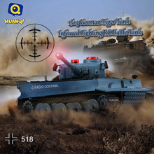 HUAN QI 518 1/24 Scale German Tiger Infrared Fighting RC Battle Tank with Sound and Lights RC Tank Toys RC Remote Control Tank