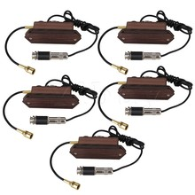 Yibuy 5 x Wooden Acoustic Guitar Dual Coil Soundhole Pickup with Microphone