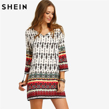 SHEIN Women Bohemian Dress Summer Casual Long Sleeve Split Tie Neck Lacing Tribal Print Vintage Straight Short Dresses(China)