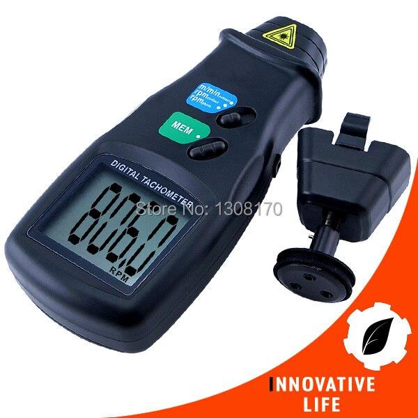Digital 2 in 1 LASER Sensor Photo &amp; Contact Tachometer Tach 99 999 RPM Range Rotational Surface Speed<br>