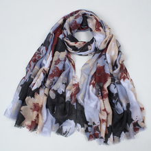 2017 New Style Women Scarf Pashmina Cotton Scarves Big Flower Print Ladies tassel Shawl Wrap TR002