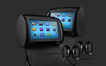 "Black 2x9"" Touch Screen Car Headrest DVD Player with 2 IR Headphones 8 Bits & 32 Bits Games Black Color"