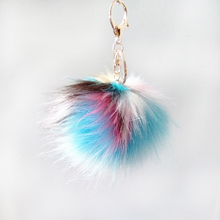 12pcs Blue Brown White Series Fake Raccoon Fur 10cm Pompon Key Chain Bag Pendant Colorful Long Hair Fulffy Pom Jewelry Gifts