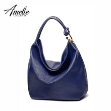 AMELIE GALANTI brand women shoulder bag famous design half moon casual solid handbag zipper soft fashion bags black blue grey