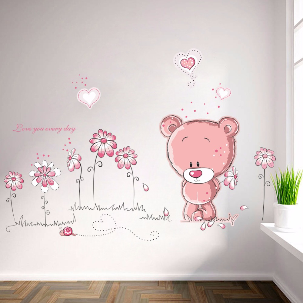 % cartoon cute pink lanimal bear flower baby children kids bedroom room decor wall stickers kids nursery decal sticker girl gift(China)