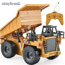 Abbyfrank 2.4G RC Truck 6 Channel Remote Control Dump 4 Wheel Vehicles Realistic Machine Durable Multi-function Toys Kids Gift(China)