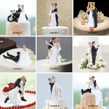 High Quality Synthetic Resin Bride & Groom Wedding Cake Topper Romantic Wedding Party Decoration Adorable Figurine Craft Gift