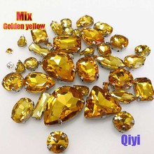 Sell at a loss! 50pcs/bag high quality mixed shape golden yellow glass sew on claw rhinestones,diy clothing accessories SWM013(China)