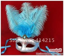 13 Inch Free Shipping Beautiful Light blue And Silver Venetian Mask, Party Eye Mask (A009)