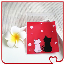 100pcs/lot Cookie packaging bags red valentine cat lover self-adhesive plastic bags for biscuits snack baking package 10x11cm