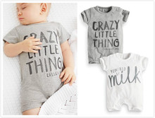 2017 Summer New Baby Boys Girls Clothes Newborn Toddler Short-sleeved Letter Baby Romper Infant Clothing Set(China)
