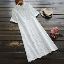 white color hollow out embroidery turn-down collar shlort sleeve cotton dress mori girl(China)