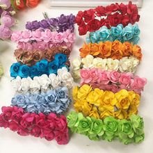 144 PCS / 2 cm artificial bouquets of roses paper flowers wedding decoration DIY wreath wreath collage artificial flowers(China)