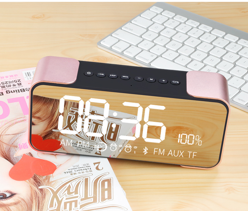 Stereo Alarm Clock Wireless Bluetooth Speaker Card Car Mini Subwoofer Mobile Phone Flat Panel Audio Radio Call Metal(China)