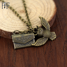 20pcs/lot Vintage bronze Necklace Owl Post envelope Necklaces & Pendants Hogwarts Acceptance Letter Fans Collection Gifts