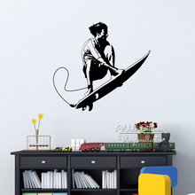 Baby Nursery Surfing Wall Sticker Modern Sport Wall Decal DIY Surfing Wall Decors Boys Room Sports Decors Cut Vinyl Stickers M43(China)