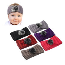 M MISM Pom Pom Ball Stretch Crochet Bow Headband Winter Knitted Turban Hairband Wool Head Wrap Turbans Unisex Hair Accessories(China)