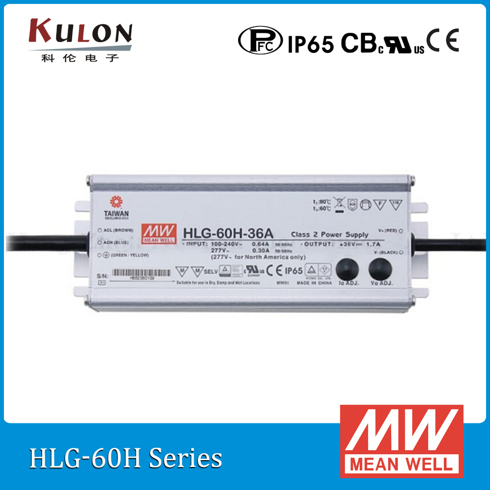 Original Mean well LED driver HLG-60H-24A 60W 24V 2.5A adjustable AC/DC LED Power Supply with PFC<br>