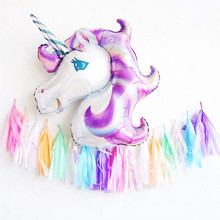 1 set Anagram Rainbow Unicorn helium Foil Balloons +7 colors Tissue Paper Tassels theme birthday party decor supplies baby toys(China)