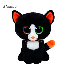 Elsadou Ty Beanie Boos Stuffed & Plush Animals Different Color Eye Black Cat Toy Doll