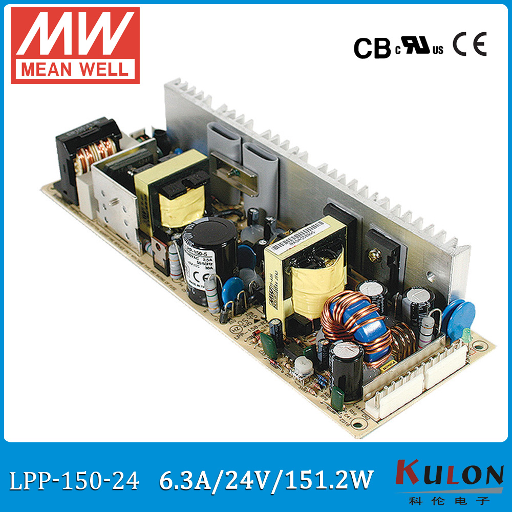 Original MEAN WELL LPP-150-24 single output 6.3A 150W 24V Meanwell Power Supply with active PFC open frame LPP-150<br>