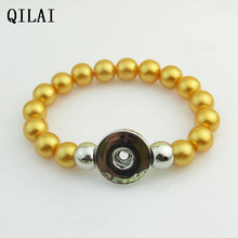 wholesale hand-made Elastic bracelet  peral 18mm snap button bracelet   for snap button jewelry 10pcs/lot