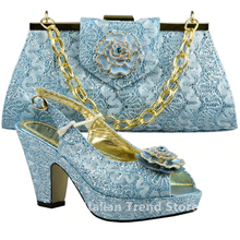 Blue Color Shoes and Bag Set Decorated with Rhinestone High Quality Matching Italian Shoes and Bag for Wedding Nigerian Shoes