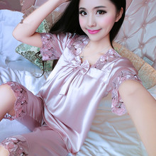 Ms summer Lace edge Chiffon Silk shorts Sexy Pajamas home service suit