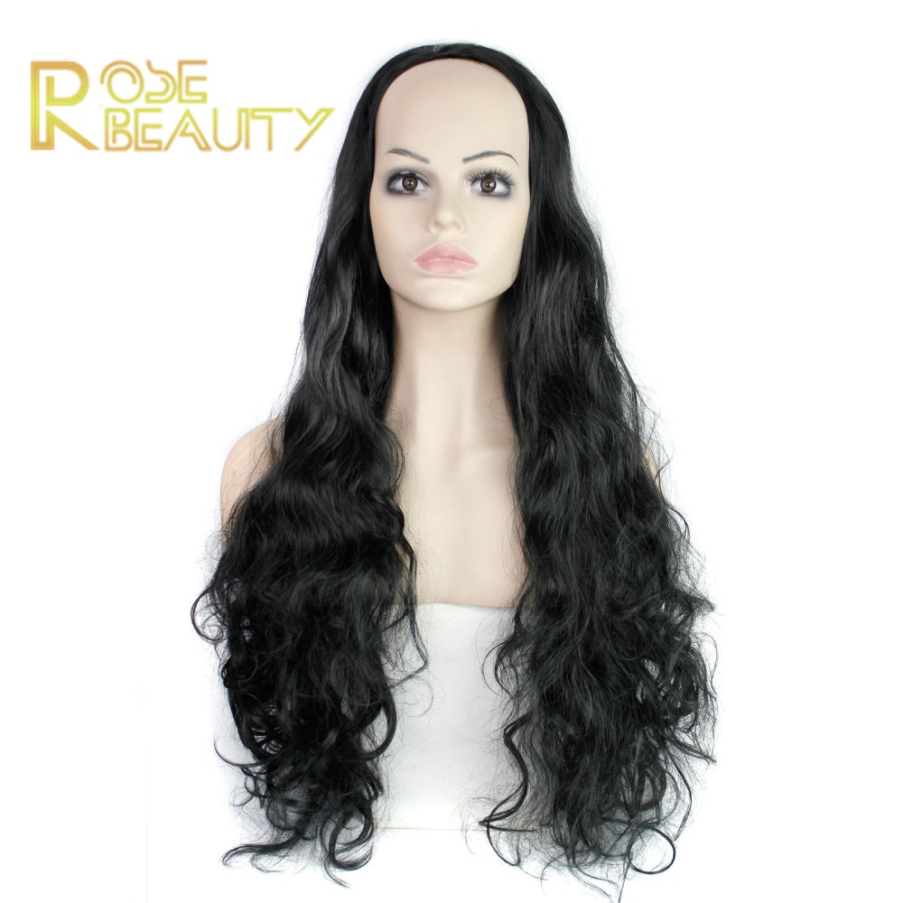Black 32 280g Womens 3/4 Full Head Long Wavy Wig, Cheap Curly Ombre Wavy Synthetic Half Wig,harajuku peruca Synthetic Wigs<br><br>Aliexpress