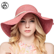 FS Green Pink Raffia Straw Hat For Summer Women Beach Sun Fashion Wide Brim Fedora Hat With Pearl Elegant Folding Travel Cap(China)