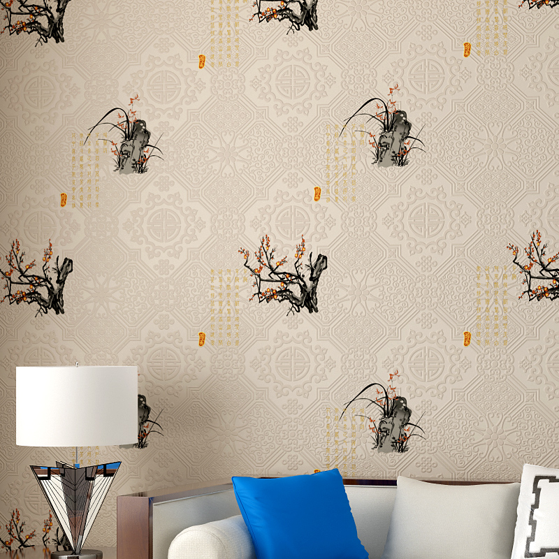 Chinese Style Wallpaper Roll Classic Wallpaper Backgrounds Non Woven Plum Wallpaper Blossom for Living Room Walls 3D Wall Mural <br>