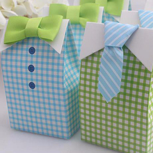 Fashion 20 pcs My Little Man Blue Green Bow Tie Birthday Boy Baby Shower Favor Candy Treat Bag Wedding Favors Candy Box Gift Bag