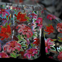 Fashion design nail transfer foil transfer film prompted decorative nail stickers Nice Hot Pink Red Lily Flower  GL63