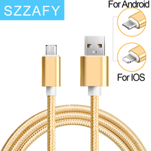 USB Cable 0.5m/1m/2m Nylon Braided Micro USB Cable Charging Sync Data USB Cable For iphone 7 6 6s Plus 5s ipad mini Samsung HTC