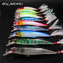 POLAPOFEI 10pcs/set Minnow Fish Fishing Lure Japan Peche Wobbler Crankbait Bass Pike Prout Carp Bait Tackle Hook Yo Zuri C27