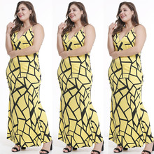 Buy ECOBROS 2018 woman summer big size dress Sexual backless hanging neck print large size women's dress big set slim waist