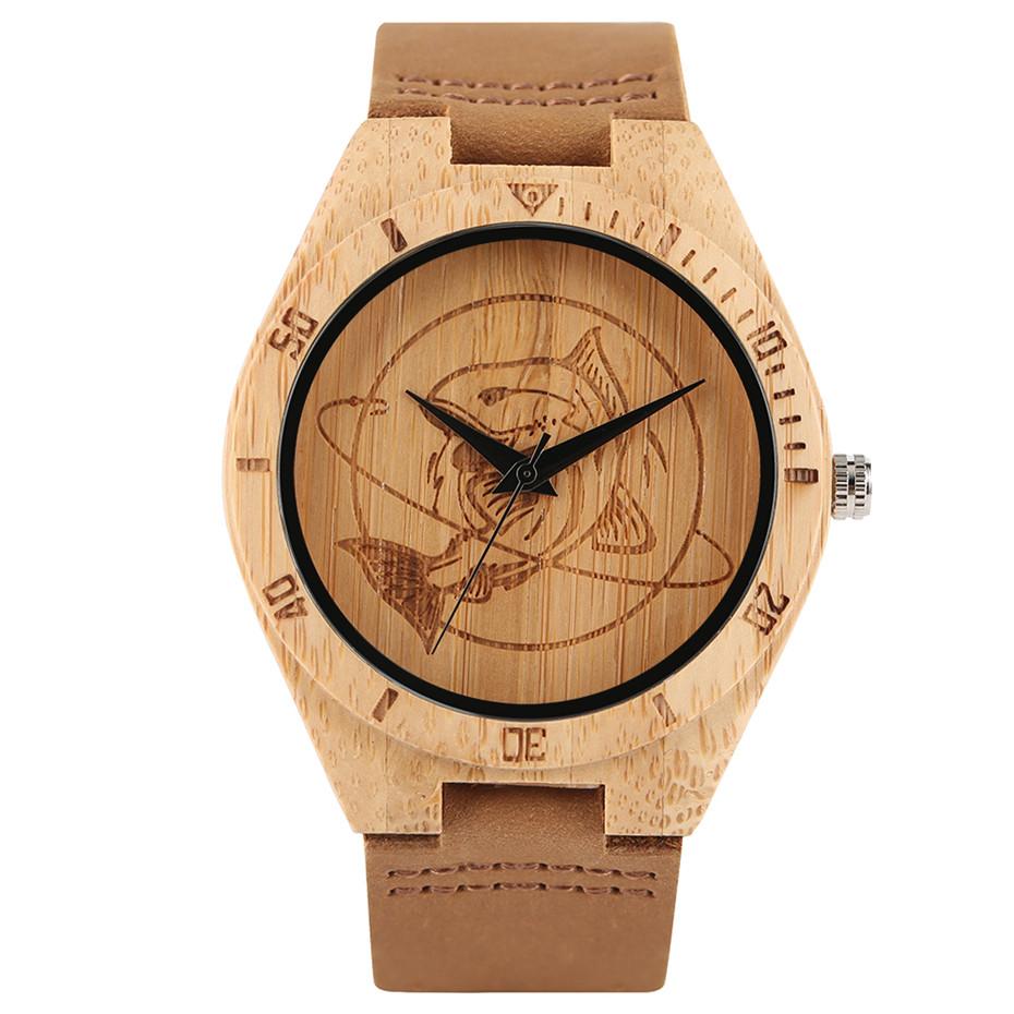 YISUYAสร้างสรรค์ไม้นาฬิกาฉลามปลาบุรุษสตรีธรรมชาติไม้ไผ่ไม้ควอตซ์นาฬิกาข้อมือสบายๆหนังโชคด... 3