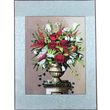 Yilong 52cmx68cm Rose Vase Still Life Handmade Silk Embroidery Wall Decor (KX031)