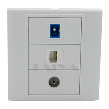 SC fiber, RJ45 and TV wall plate support DIY wall plate