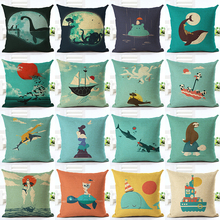 Fashion Style Cute Marine Life Printing Linen Cotton Cushion Cover Throw Pillow Sofa Pillow Cojines