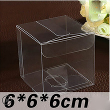 Wholesale 100pcs=1lot 6*6*6cm Clear PVC Birthday Gift Box Packing Wedding Favor Boxes Chocolate Candy Apple Boxes Event Box