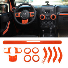 12Pcs Orange ABS Steering Wheel Trim Air Condition Vent Interior Accessories Door Handle Cover Kits For Jeep Wrangler JK 11-15