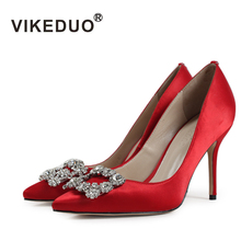 VIKEDUO Luxury Brand New Women High Heels Shoes Transparent Diamond Sexy Pointed Dance Party Wedding Dress Shoe Footwear(China)
