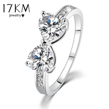 17KM High quality New Elegant Finger Bow Crystal Ring Wedding Engaged Rings Jewelry For women wholesale