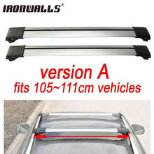 Ironwalls 2x Silver Black 105~111cm Car Top Luggage Cargo Roof Rack Carrier Cross Bar With Anti-theft Lock System For Vehicles