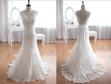Real Picture Mermaid V-neck Cap Sleeve Real Picture Lace Overlay Court Train Bow Customized Alibaba Wedding Dress(China)